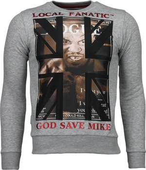 Local Fanatic Mike Tyson - Rhinestone Sweater - Grey