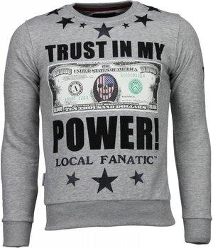 Local Fanatic Trust In My Power! - Rhinestone Sweater - Grey