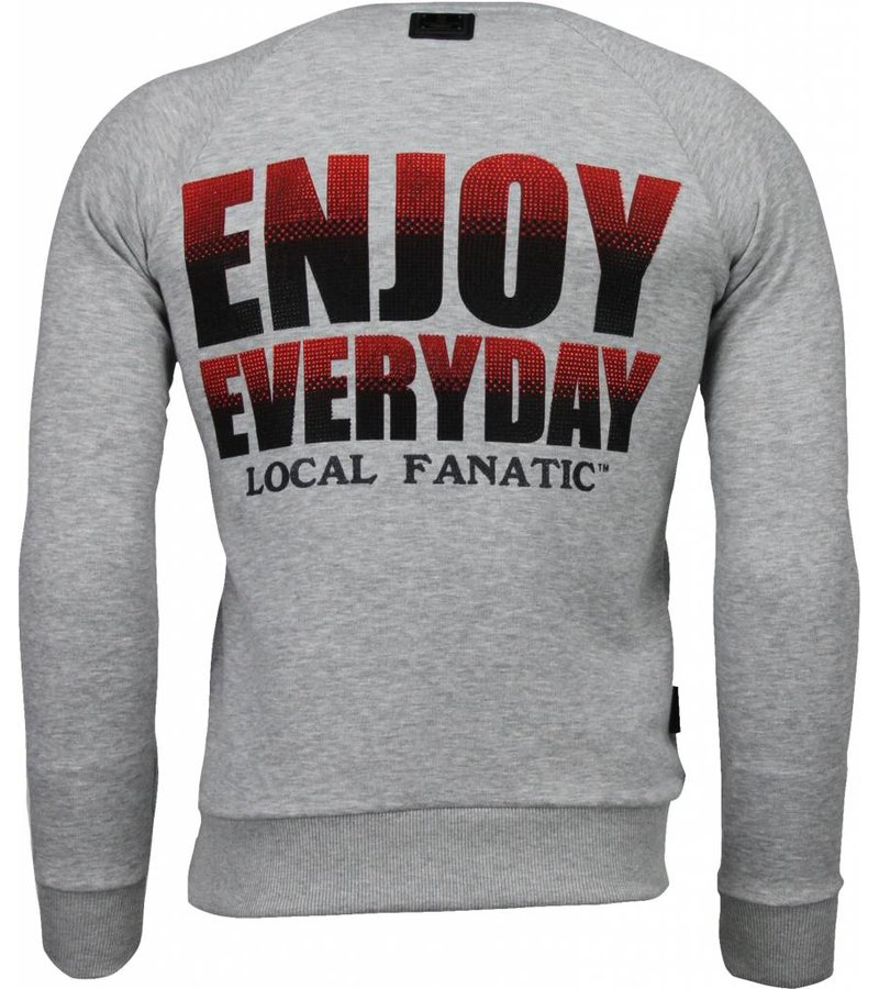 Local Fanatic Bilzarian - Rhinestone Sweater - Grey