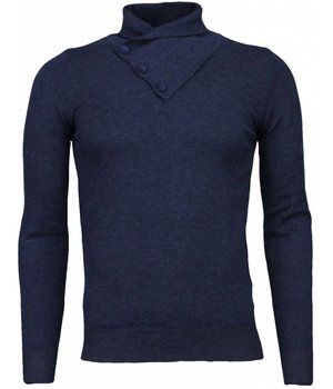 Enos Casual Sweater - Colk collar Basic Design - Blue