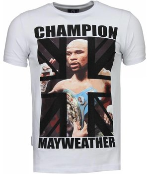 Local Fanatic Mayweather - Rhinestone T-shirt - White