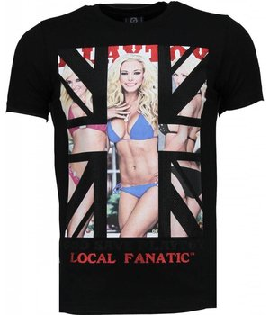 Local Fanatic God Save Playtoy - Rhinestone T-shirt - Black