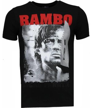 Local Fanatic Rambo - Rhinestone T-shirt - Black