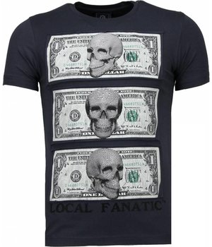 Local Fanatic Better Have My Money - Rhinestone T-shirt - Dark Grey