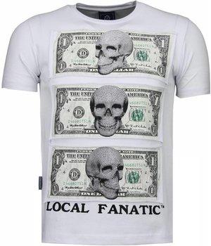 Local Fanatic Better Have My Money - Rhinestone T-shirt - White