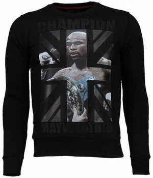 Local Fanatic Mayweather - Rhinestone Sweater - Black