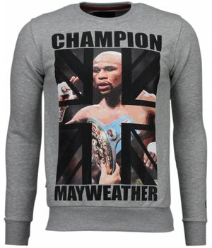Local Fanatic Mayweather - Rhinestone Sweater - Grey