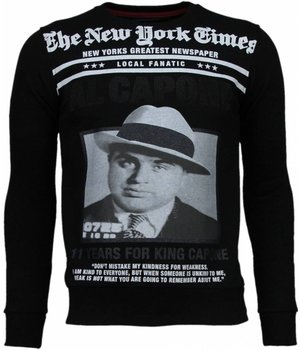 Local Fanatic Al Capone - Rhinestone Sweater - Black