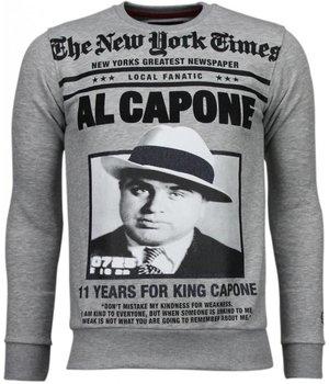 Local Fanatic Al Capone - Rhinestone Sweater - Grey