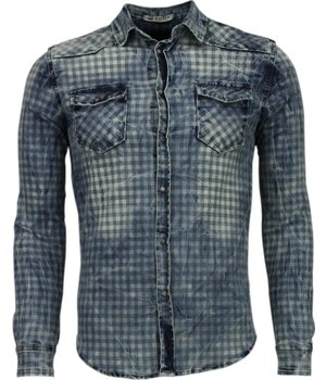 Enos Denim Shirts - Slim Fit Long Sleeve Shirt - Block Pattern - Blue