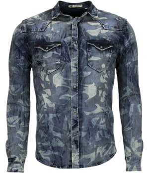 Enos Denim Shirts - Slim Fit Long Sleeve Shirt - Army Pattern - Blue