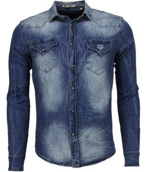 Enos Denim Shirts - Slim Fit Long Sleeve Shirt - Basic Denim - Blue