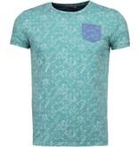 Black Number Browse Motif Summer- T-Shirt - Green