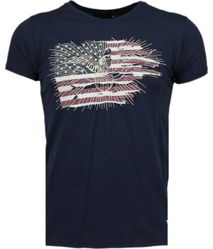 Bread & Buttons America Flag Embroider - T-Shirt - Navy