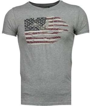 Bread & Buttons America Flag Embroider - T-Shirt - Grey