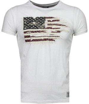 Bread & Buttons America Flag Embroider - T-Shirt - White