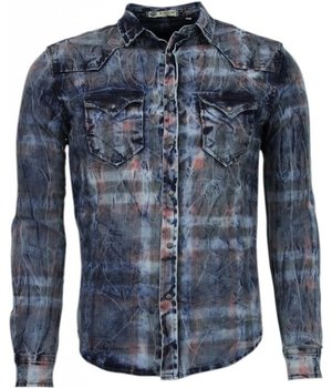 Enos Denim Shirts - Slim Fit Long Sleeve Shirt - Color Print - Blue