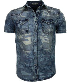 Enos Denim Shirts - Slim Fit Short Sleeve Shirt - Army Pattern - Blue