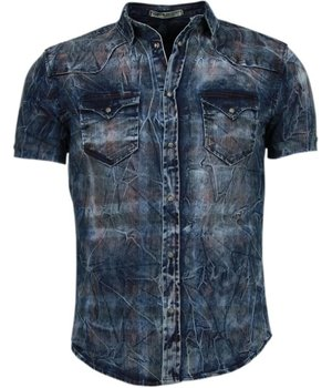 Enos Denim Shirts - Slim Fit Short Sleeve Shirt - Color Print - Blue