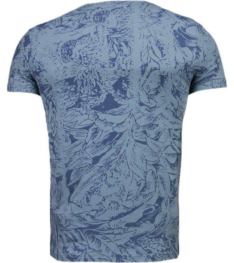 Black Number Forrest Motive - T-Shirt - Blue