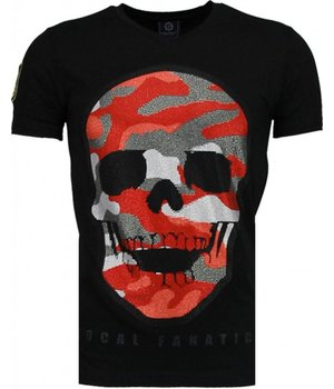 Local Fanatic Army Skull - Rhinestone T-shirt - Black