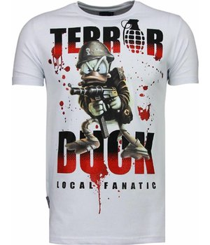 Local Fanatic Terror Duck - Rhinestone T-shirt - White