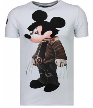 Local Fanatic Bad Mouse - Rhinestone T-shirt - White