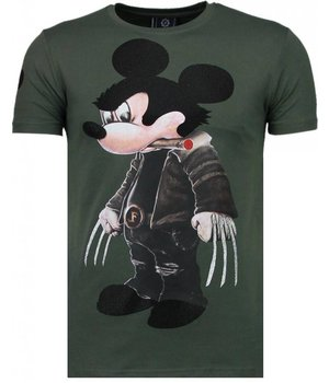 Local Fanatic Bad Mouse - Rhinestone T-shirt - Green