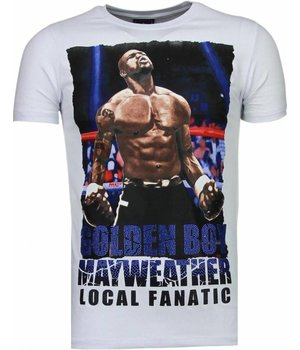 Local Fanatic Golden Boy Mayweather - Rhinestone T-shirt - White
