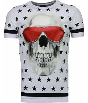 Local Fanatic Star Skull - Rhinestone T-shirt - White