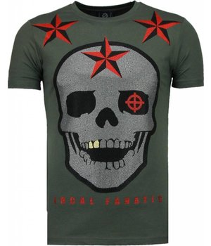 Local Fanatic Rough Player Skull - Rhinestone T-shirt - Green