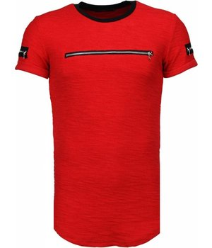 John H Exclusief Zipped Chest - T-Shirt - Red