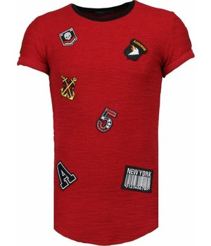 John H Exclusief Military Patches - T-Shirt - Burgundy