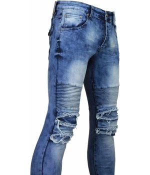 New Stone Exclusive Jeans - Slim Fit Biker Jeans Washed Damaged Knee Light - Blue