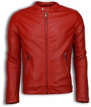 Enos Fake Leather Jacket - Biker Shoulder Jack - Red
