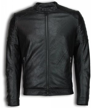 Enos Fake Leather Jacket - Biker Shoulder Jack - Black