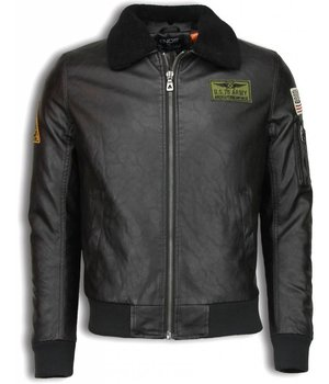 Enos Fake Leather Jacket - Pilot Jack - Brown