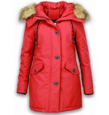 Adrexx Winter Coats - Women's Winter Jacket Mid Long - Faux Fur - Canada Style - Red