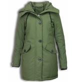 Adrexx Winter Coats - Women's Winter Jacket Mid Long - Faux Fur - Canada Style - Green