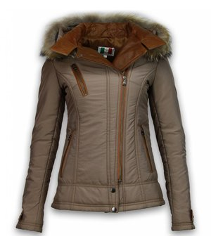 Milan Ferronetti Fur Collar Coat - Women's Winter Coat Short - 3 Zippers With Leather Piece - Beige
