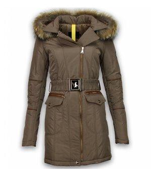 Milan Ferronetti Fur Collar Coat - Women's Winter Coat Long - Oblique Zipper With Stitch Pocket - Beige