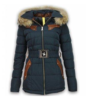 Milan Ferronetti Fur Collar Coat - Women's Winter Coat Long - Stitch Pocket With Belt - Navy