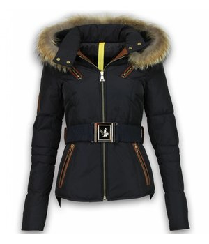 Milan Ferronetti Fur Collar Coat - Women's Winter Coat Short - Leather 4 Pocket With Belt - Navy/Black