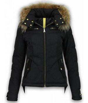 Milan Ferronetti Fur Collar Coat - Women's Winter Coat Short- Basic Fit Exclusive - Black