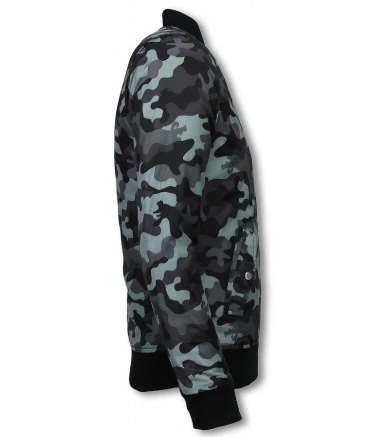 Belman Casual Jacket - Camouflage Pattern With 3 Zippers - Grey