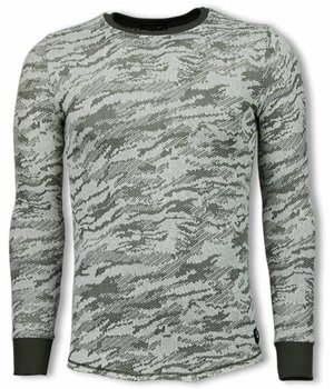 Uniplay Army Look Shirt - Long Fit Sweater - Green