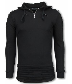 Berry Denim Long Fit Hoodie - Ripped Shoulder - Black
