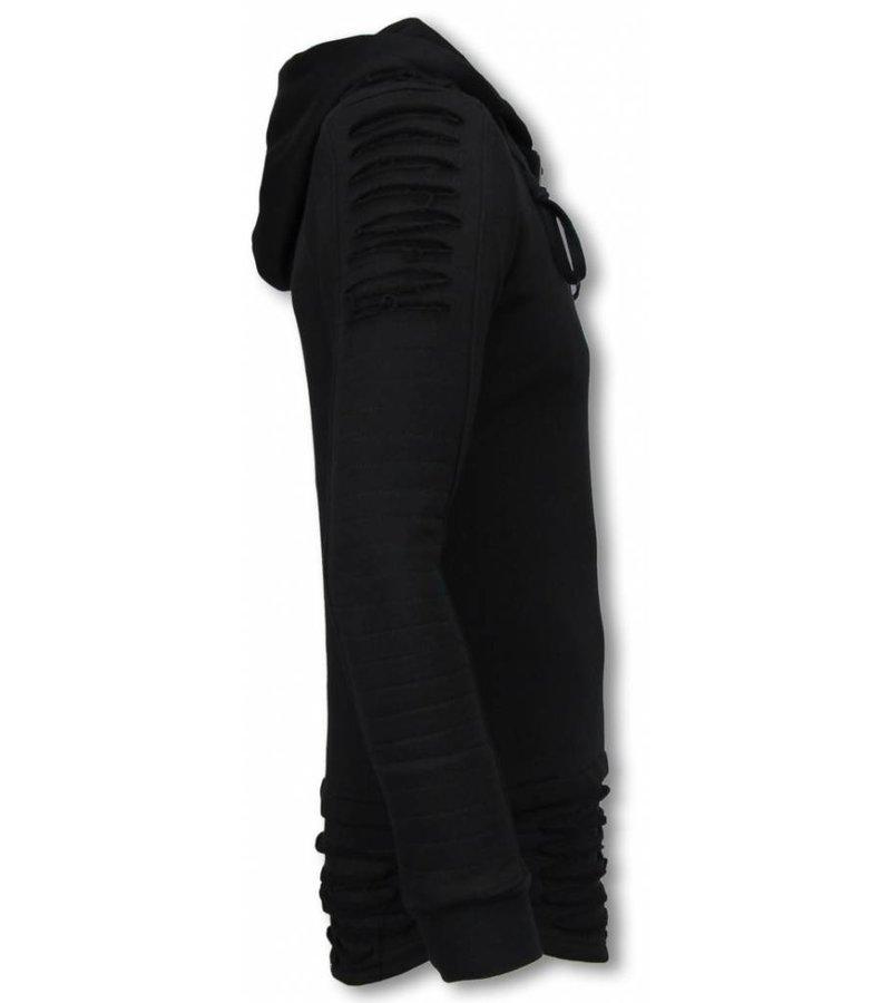 Berry Denim Long Fit Hoodie - Ripped Shoulder - Black