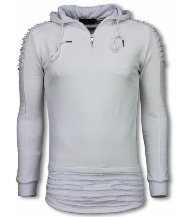 Berry Denim Long Fit Hoodie - Ripped Shoulder - White
