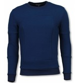 Black Number 3D Ribbel Square Crewneck- Sweater - Blue